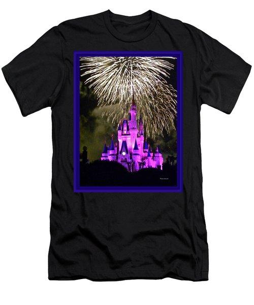 The Magic Kingdom Castle In Violet With Fireworks Walt Disney World Fl Men's T-Shirt (Athletic Fit)