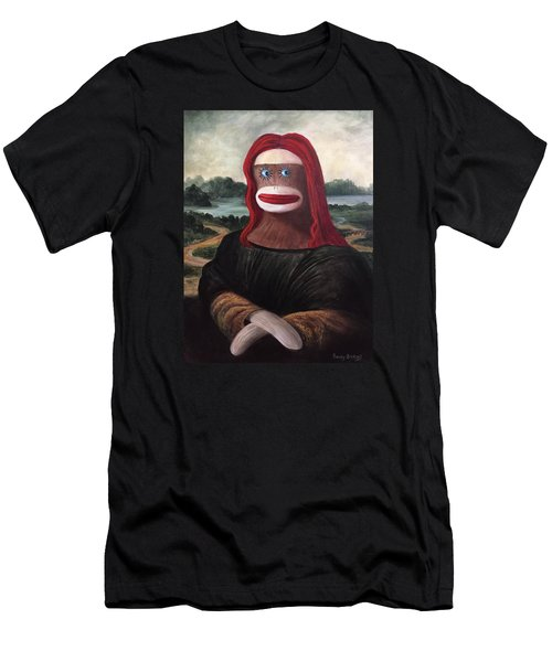 Men's T-Shirt (Slim Fit) featuring the painting The Monkey Lisa by Randol Burns