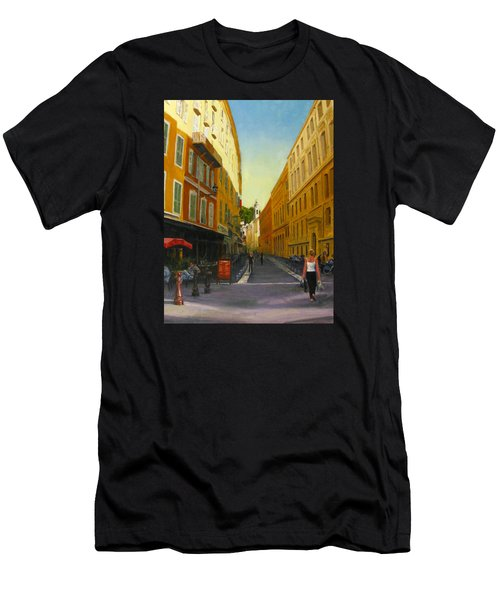 The Morning's Shopping In Vieux Nice Men's T-Shirt (Slim Fit) by Connie Schaertl