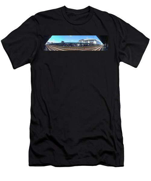 The Old And New Yankee Stadiums Panorama Men's T-Shirt (Slim Fit) by Nishanth Gopinathan