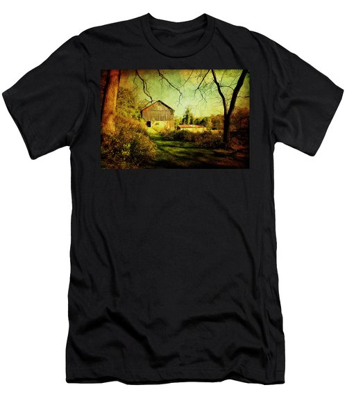 Men's T-Shirt (Slim Fit) featuring the photograph The Old Barn With Texture by Trina  Ansel