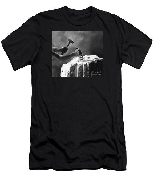 Men's T-Shirt (Slim Fit) featuring the photograph Chipping The Old Block by Mark Greenberg