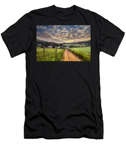 Men's T-Shirt (Athletic Fit) featuring the photograph The Old Farm Lane by Debra and Dave Vanderlaan