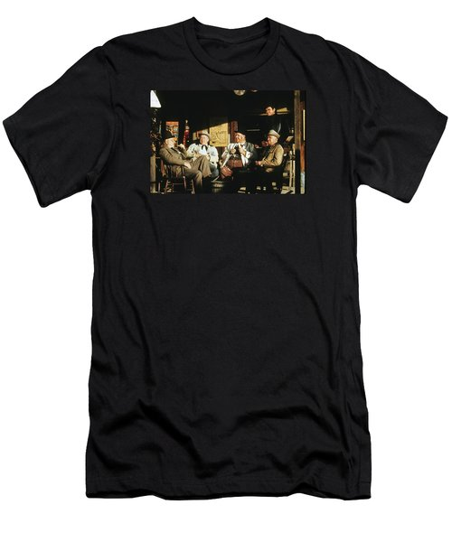 Men's T-Shirt (Slim Fit) featuring the photograph The Over The Hill Gang  Johnny Cash Porch Old Tucson Arizona 1971 by David Lee Guss