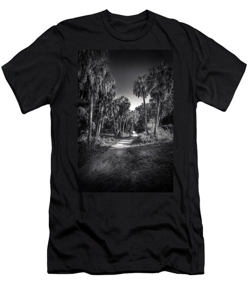 The Palm Trail B/w Men's T-Shirt (Athletic Fit)
