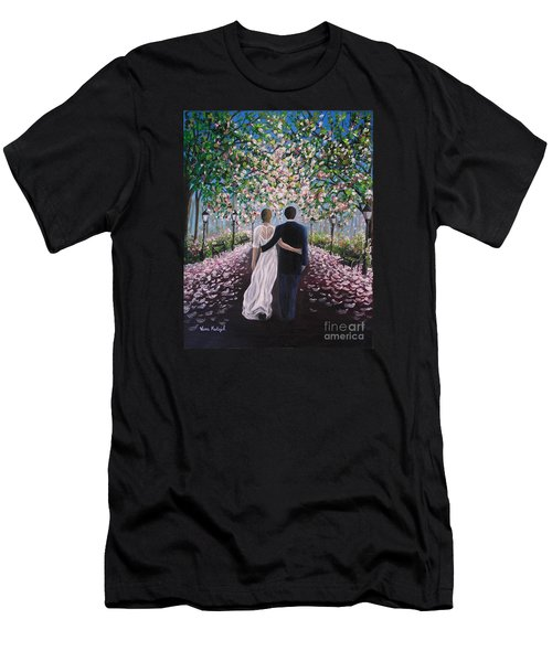 Men's T-Shirt (Slim Fit) featuring the painting The Path Of Love  by Vesna Martinjak