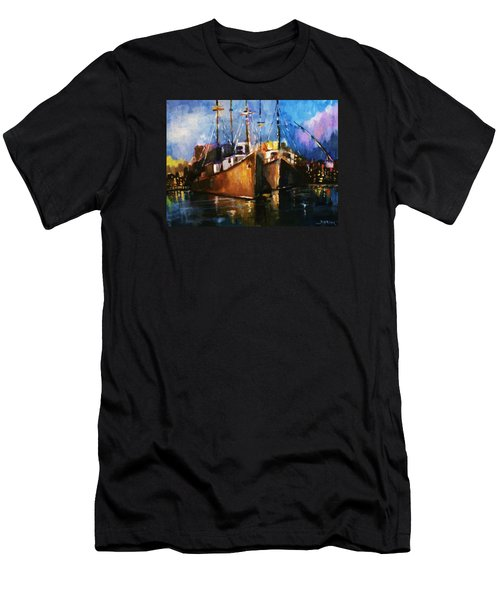 Men's T-Shirt (Slim Fit) featuring the painting The Pier At Sunset by Al Brown