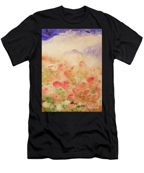 Men's T-Shirt (Athletic Fit) featuring the painting The Rose Bush by Laurie Lundquist