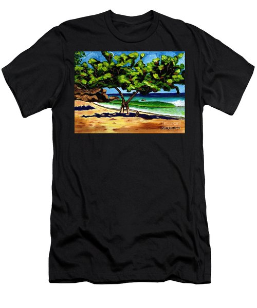 Men's T-Shirt (Slim Fit) featuring the painting The Sea-grape Tree by Laura Forde