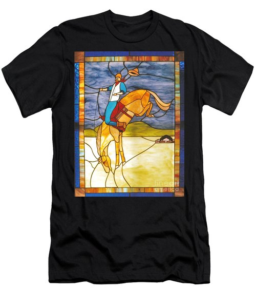 The Stained Glass Cowboy Riding Out The Bucks Men's T-Shirt (Athletic Fit)