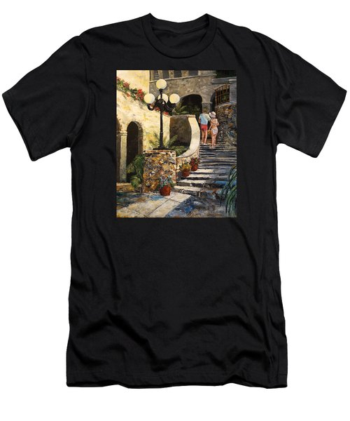 Men's T-Shirt (Slim Fit) featuring the painting The Steps by Alan Lakin