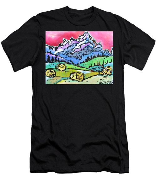 The Tetons From Walton Ranch Men's T-Shirt (Slim Fit) by Nicole Gaitan