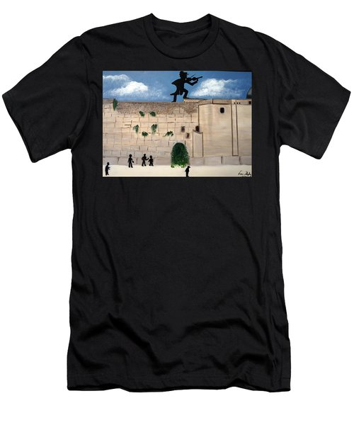 Men's T-Shirt (Slim Fit) featuring the painting The  Western Wall And Fiddler On The Roof by Nora Shepley