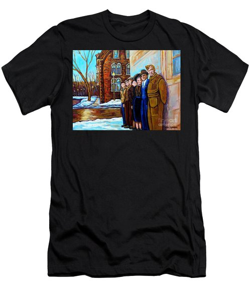 The War Years 1942 Montreal St Mathieu And De Maisonneuve Street Scene Canadian Art Carole Spandau Men's T-Shirt (Slim Fit) by Carole Spandau