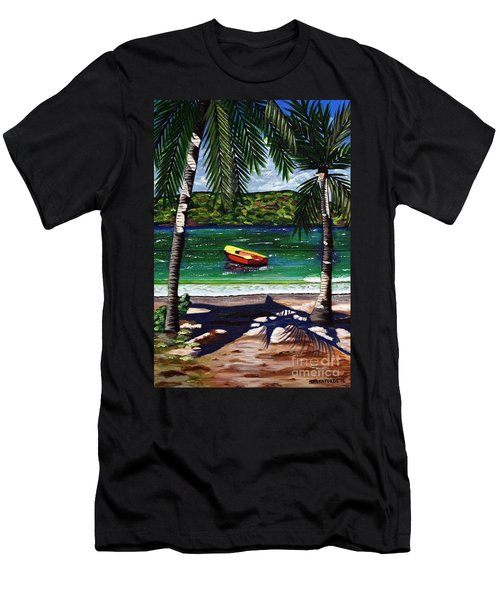 Men's T-Shirt (Slim Fit) featuring the painting The Yellow And Red Boat by Laura Forde