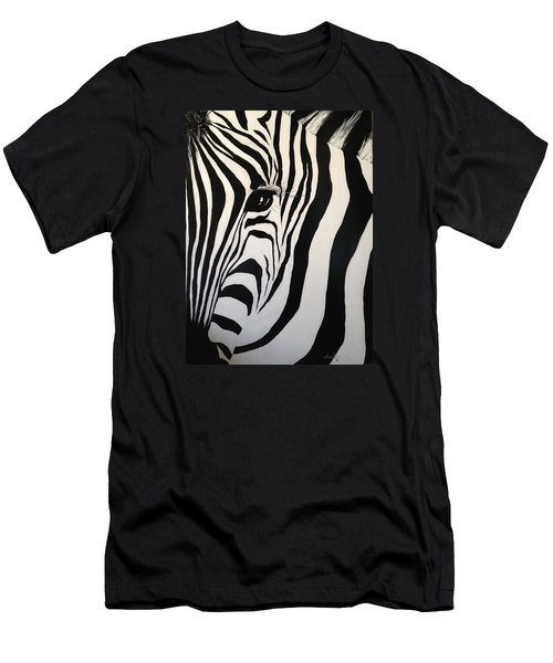 Men's T-Shirt (Slim Fit) featuring the painting The Zebra With One Eye by Alan Lakin
