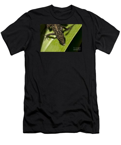 Men's T-Shirt (Slim Fit) featuring the photograph Thirsty Brown Anole by Meg Rousher