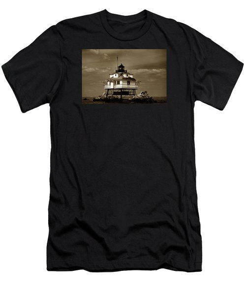 Thomas Point Shoal Lighthouse Sepia Men's T-Shirt (Athletic Fit)