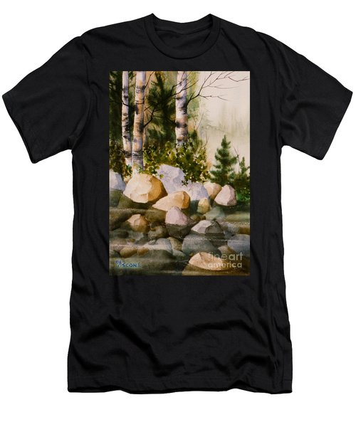 Three Birch By Rocky Stream Men's T-Shirt (Slim Fit) by Teresa Ascone