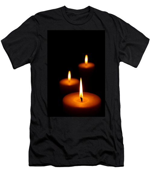 Three Burning Candles Men's T-Shirt (Athletic Fit)