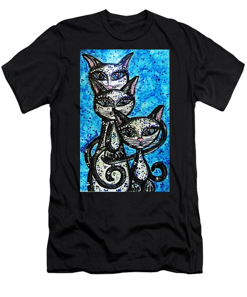 Three Grey Cats-alcohol Inks Men's T-Shirt (Athletic Fit)