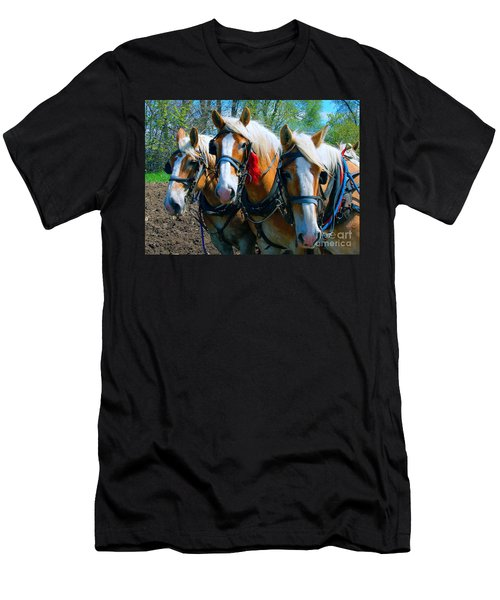Men's T-Shirt (Slim Fit) featuring the photograph Three Horses Break Time  by Tom Jelen