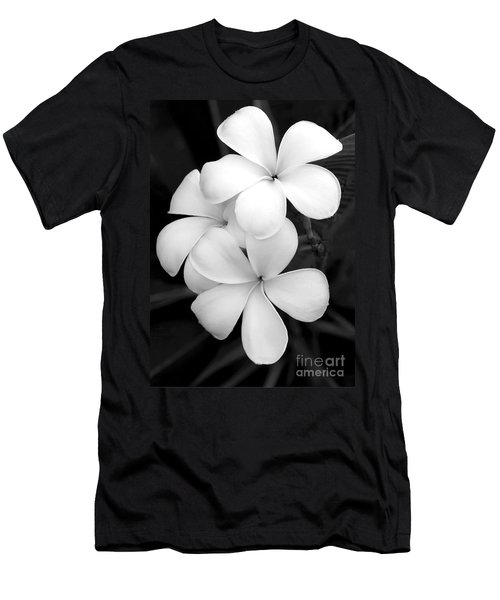 Three Plumeria Flowers In Black And White Men's T-Shirt (Athletic Fit)