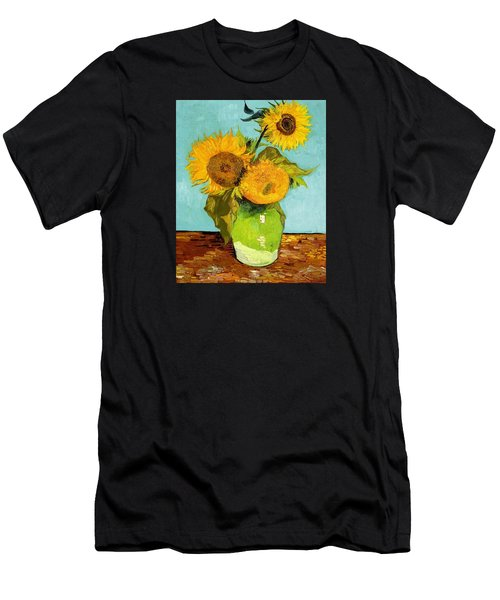 Three Sunflowers In A Vase Men's T-Shirt (Slim Fit) by Vincent Van Gogh