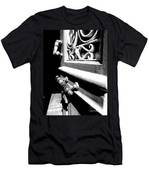 Men's T-Shirt (Slim Fit) featuring the photograph Through An Open Door Into Darkness by Vicki Spindler