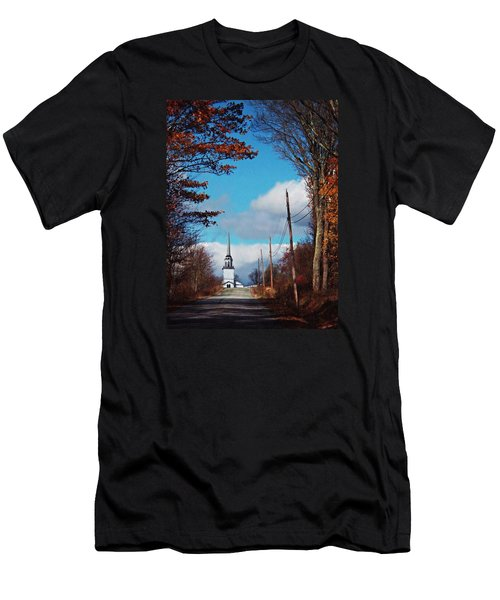Men's T-Shirt (Slim Fit) featuring the photograph Through The Trees View Of The Norlands Church Steeple by Joy Nichols