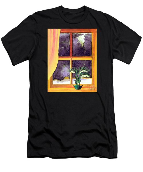 Men's T-Shirt (Slim Fit) featuring the painting Through The Window by Patricia Griffin Brett