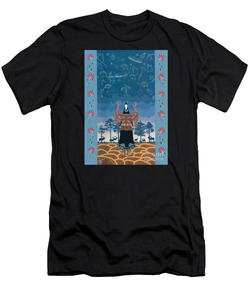 Men's T-Shirt (Athletic Fit) featuring the painting Thunder Girl II by Chholing Taha