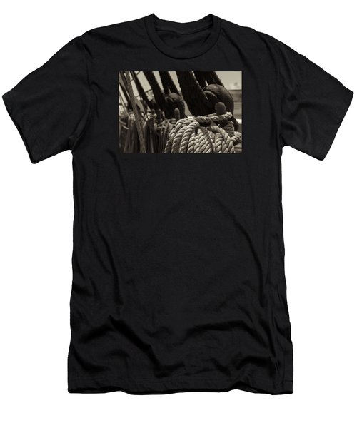 Tied Up Black And White Sepia Men's T-Shirt (Athletic Fit)