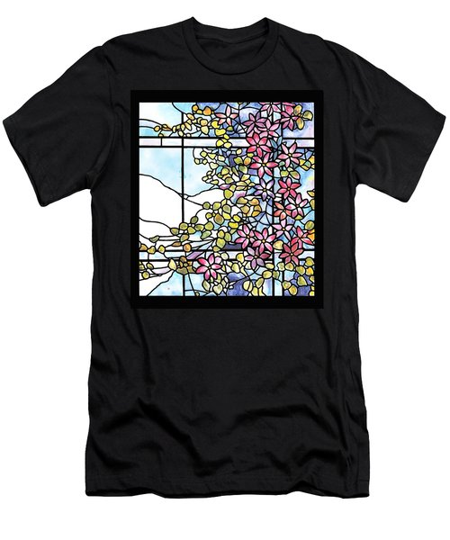 Stained Glass Tiffany Floral Skylight - Fenway Gate Men's T-Shirt (Slim Fit) by Donna Walsh