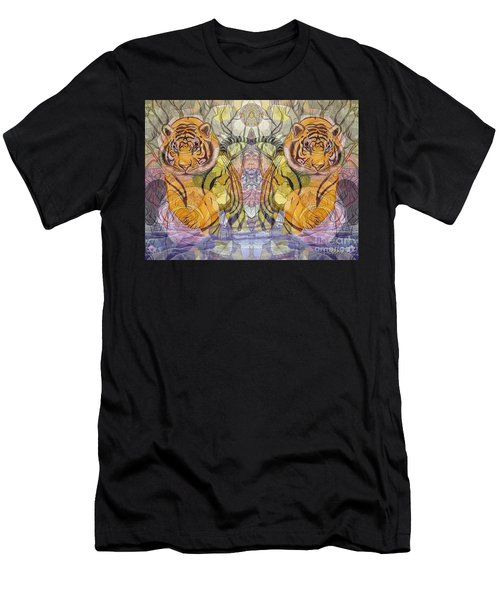Men's T-Shirt (Slim Fit) featuring the painting Tiger Spirits In The Garden Of The Buddha by Joseph J Stevens