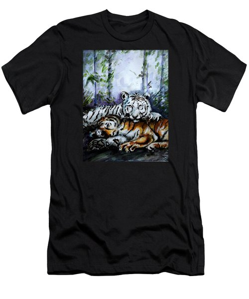 Men's T-Shirt (Slim Fit) featuring the painting Tigers-mother And Child by Harsh Malik