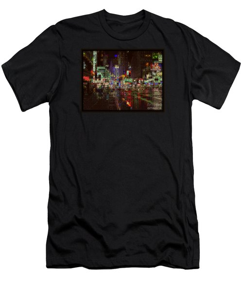 Times Square At Night - After The Rain Men's T-Shirt (Slim Fit) by Miriam Danar