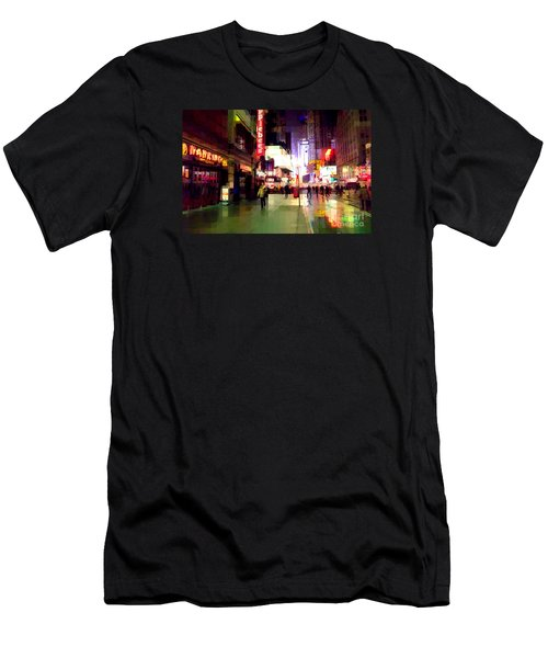 Times Square New York - Nanking Restaurant Men's T-Shirt (Slim Fit) by Miriam Danar