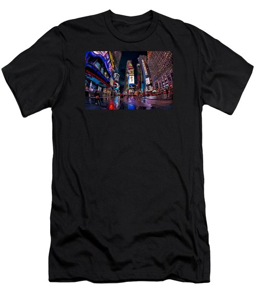 Times Square New York City The City That Never Sleeps Men's T-Shirt (Slim Fit) by Susan Candelario