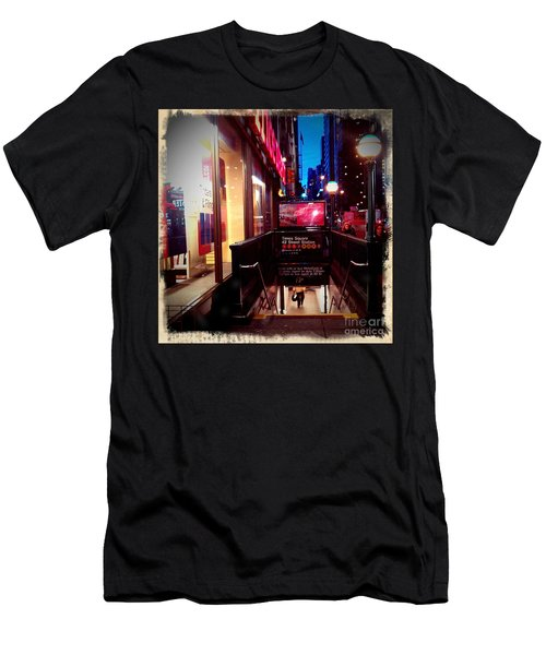 Men's T-Shirt (Slim Fit) featuring the photograph Times Square Station by James Aiken