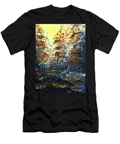 Men's T-Shirt (Slim Fit) featuring the painting Tim's Autumn Trees by Holly Carmichael