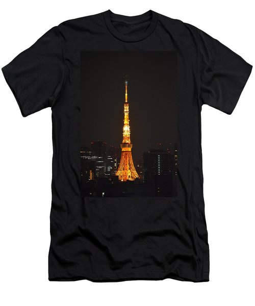 Tokyo Tower And Skyline At Night From Shinagawa Men's T-Shirt (Slim Fit) by Jeff at JSJ Photography