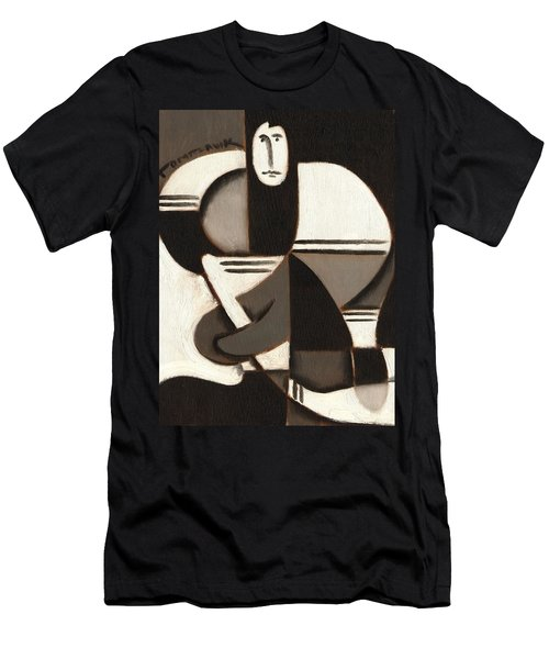 Tommervik Abstract Cubism Hockey Player Art Print Men's T-Shirt (Athletic Fit)