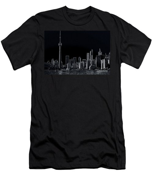 Toronto Skyline Black And White Abstract Men's T-Shirt (Athletic Fit)