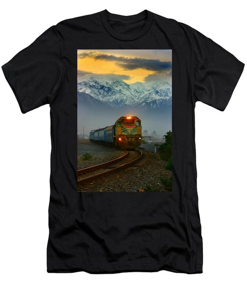 Train In New Zealand Men's T-Shirt (Slim Fit) by Amanda Stadther
