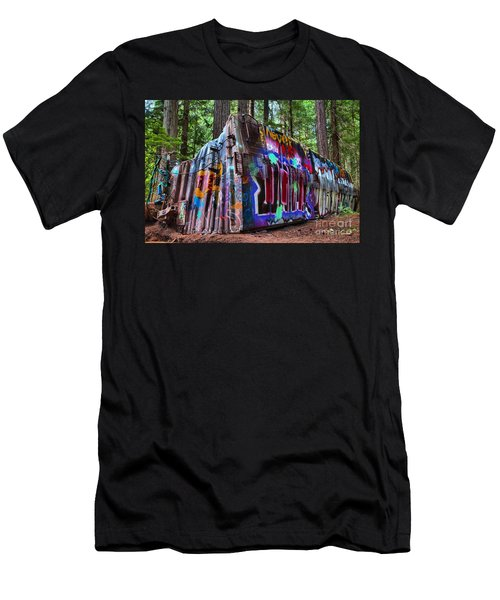 Train Wreck Art In The Forest Men's T-Shirt (Athletic Fit)