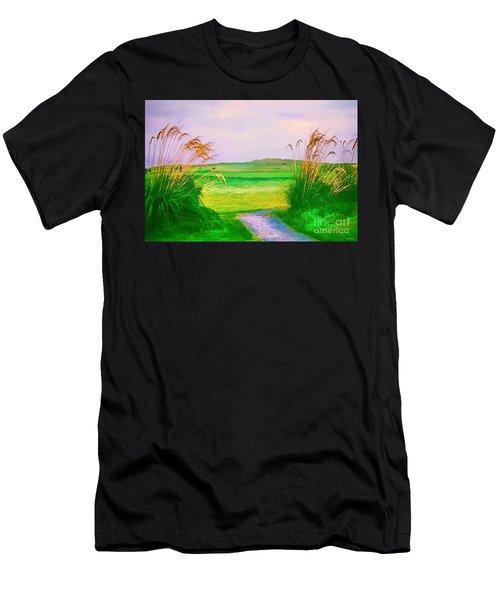 Tralee Ireland Water Color Effect Men's T-Shirt (Slim Fit) by Tom Prendergast