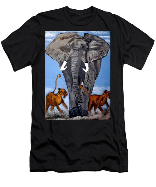 Men's T-Shirt (Slim Fit) featuring the painting Trampling Elephant by Nora Shepley