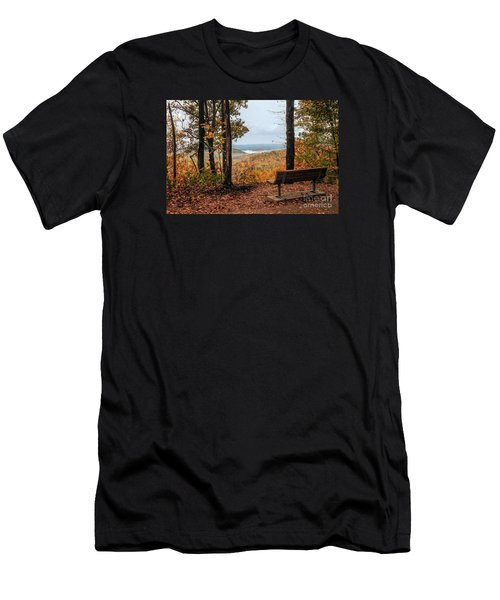 Men's T-Shirt (Slim Fit) featuring the photograph Tranquility Bench In Great Smoky Mountains by Debbie Green
