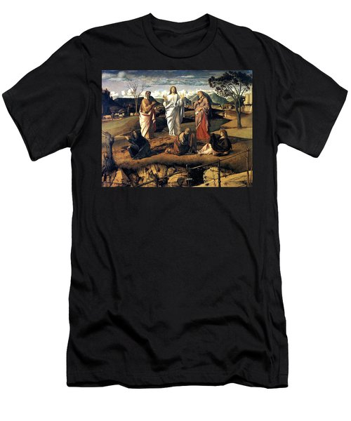 Men's T-Shirt (Slim Fit) featuring the painting Transfiguration Of Christ 1487 Giovanni Bellini by Karon Melillo DeVega